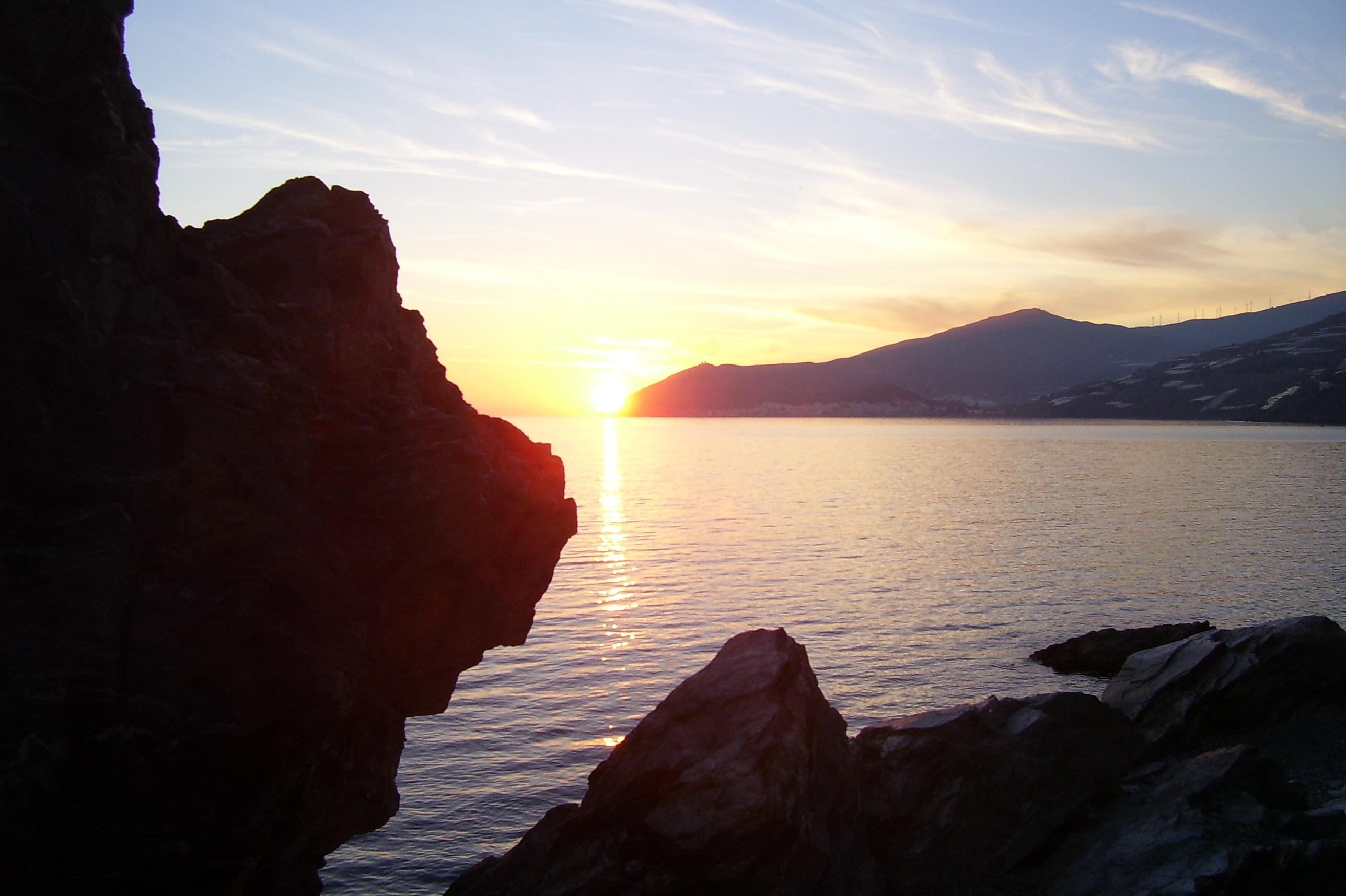 Foto playa El Lance. CAstell de Ferro, puesta de sol