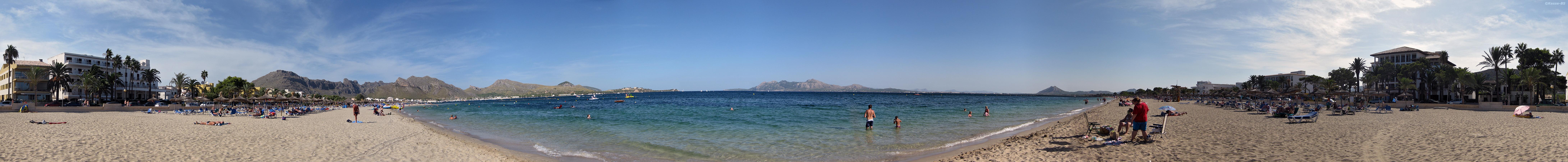 Foto playa Port de Pollença / Platja de Llenaire / Platja dels Tamarells. Mallorca * Cala Volantina * 360° Panorama * 09.2008