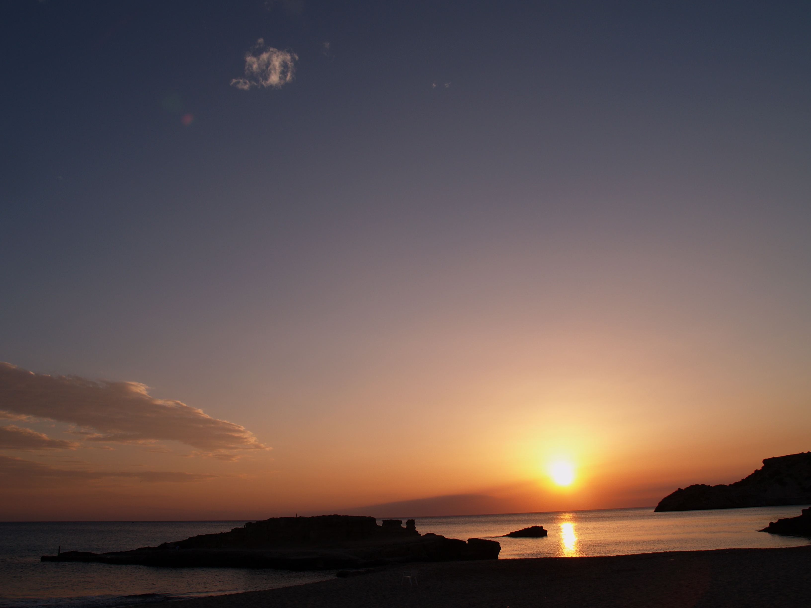 Foto playa Cala Corral. Cala Tarida, Abril 2006