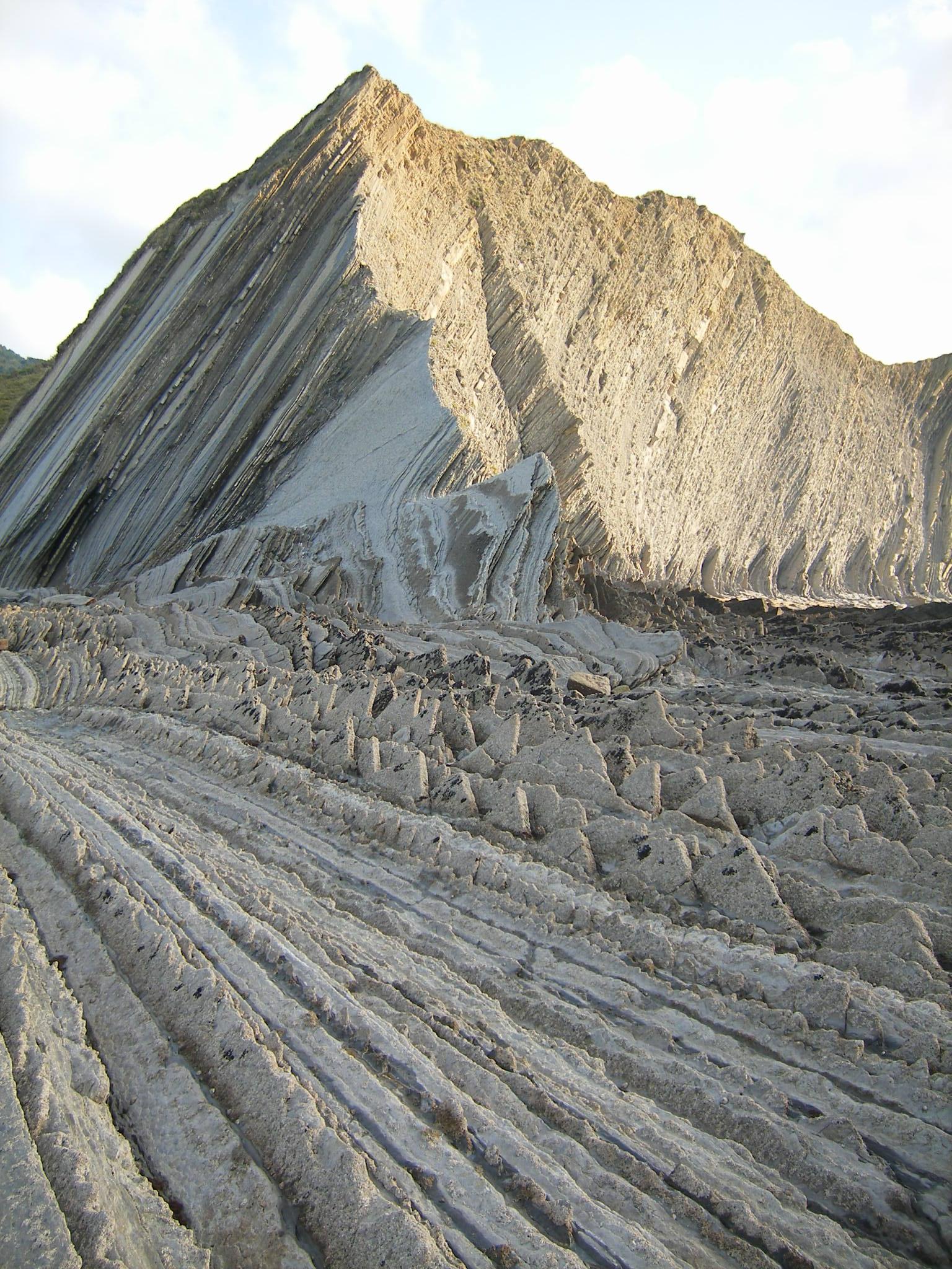 Foto playa Sakoneta. Formación geológica Flysch (Zumaia)