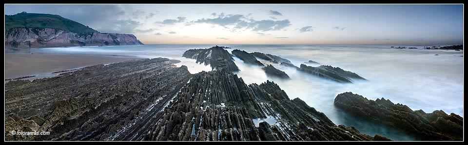Foto playa Itzurun. Panorama - Rasa mareal de Itzurun