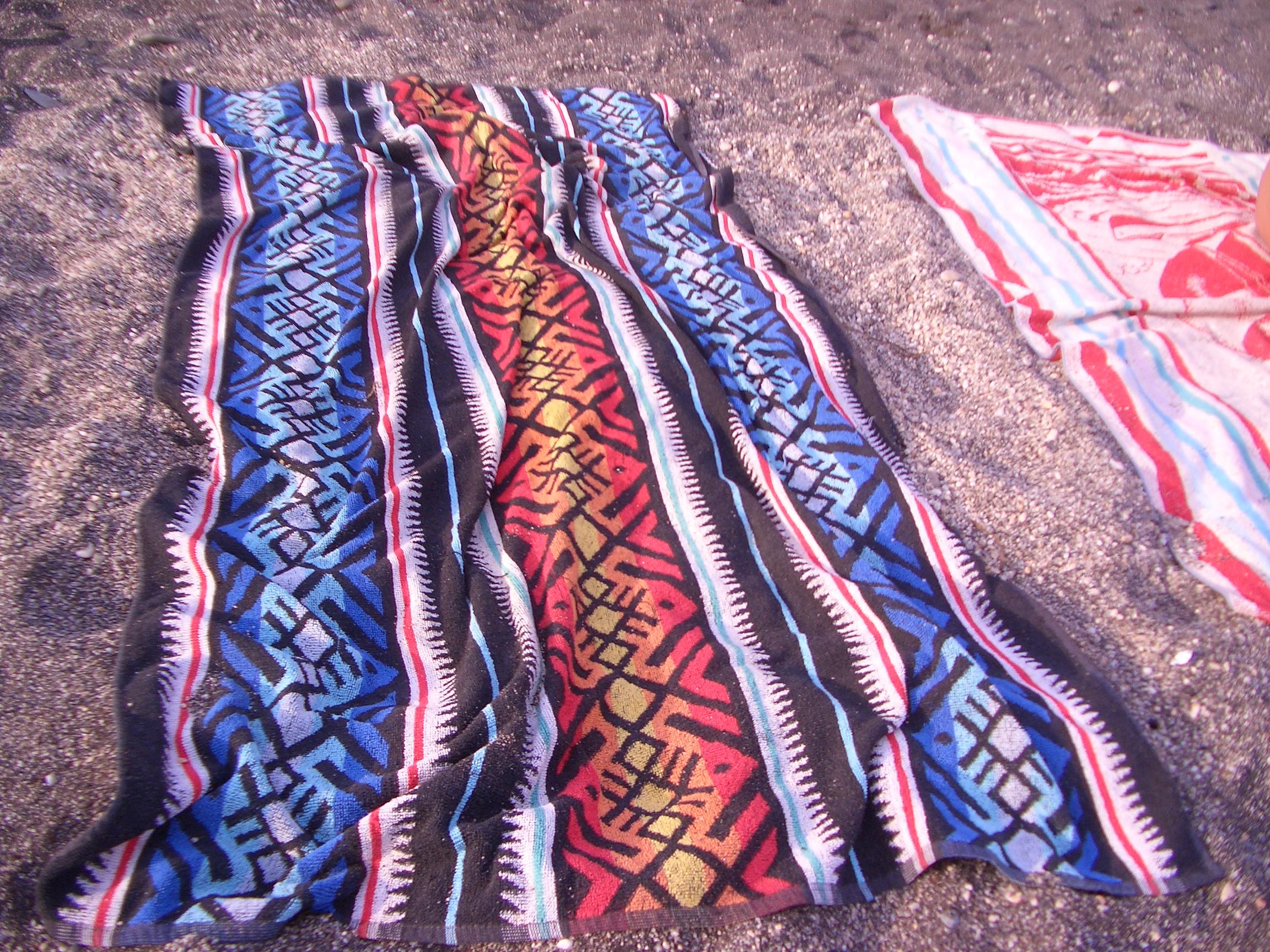Foto playa Cabria. Toallas sobre playa de Cabria