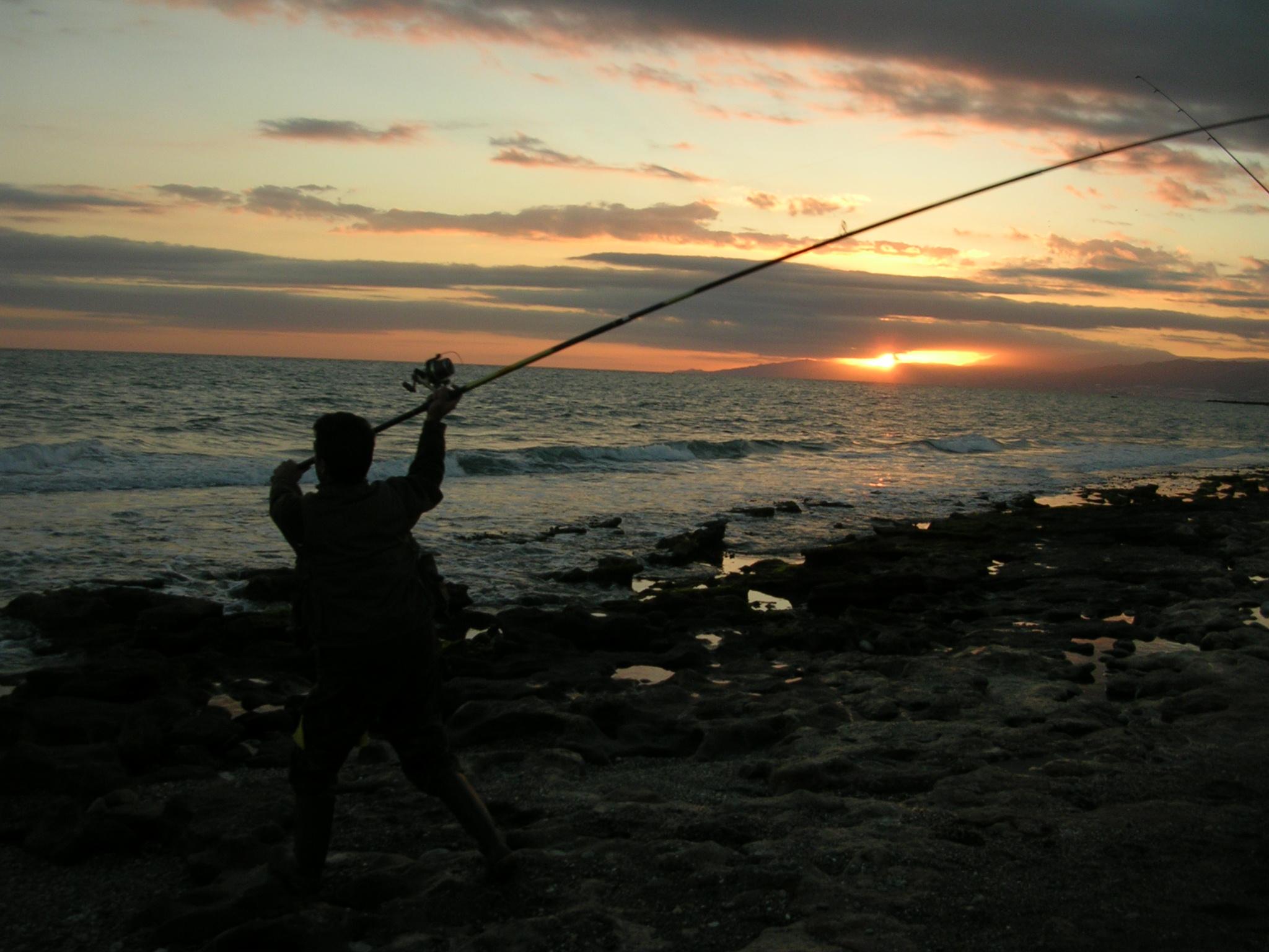 Foto playa Las Amoladeras. Pescando de noche