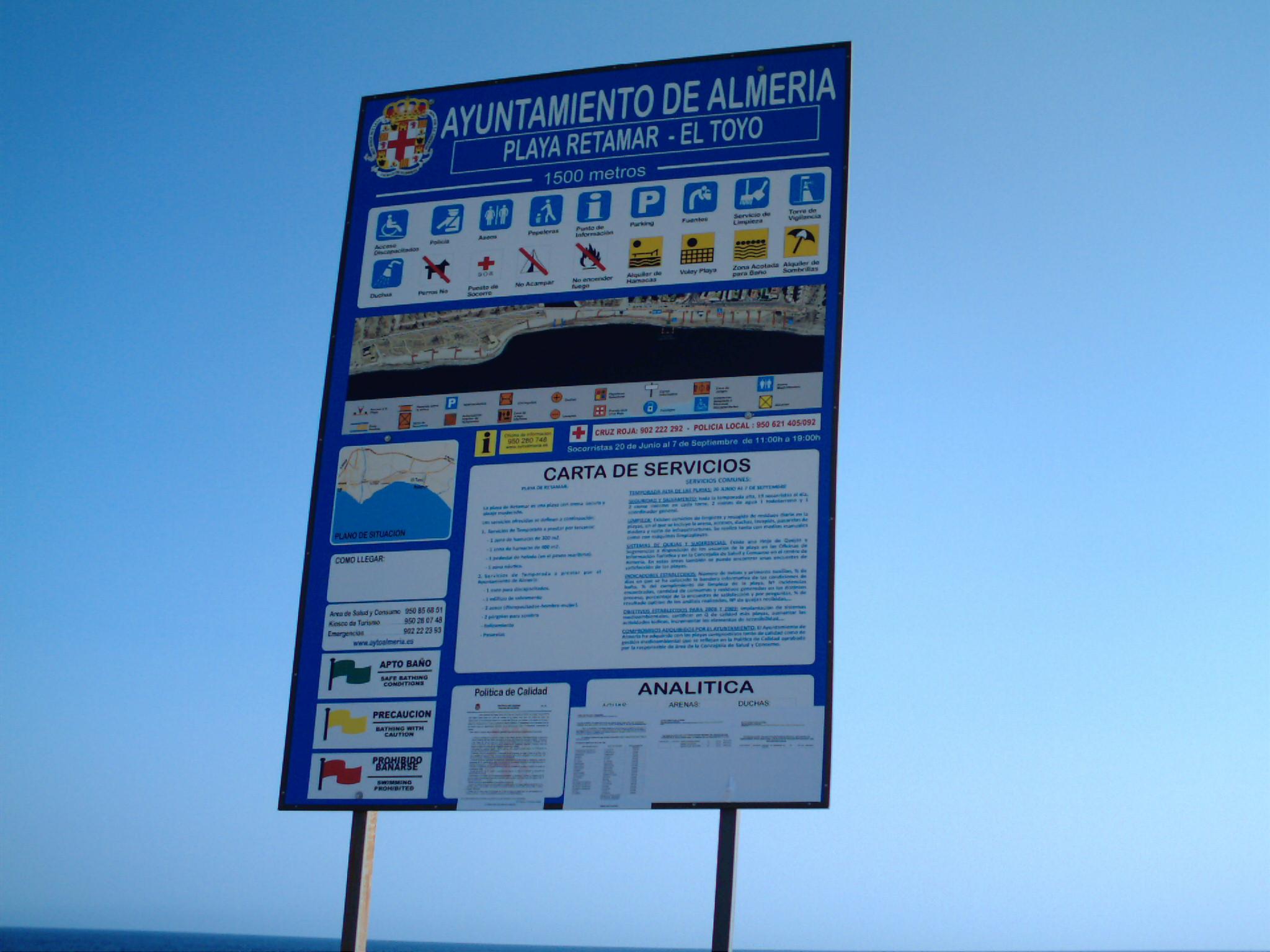 Foto playa Retamar. Cartel de la playa de Retamar-El Toyo