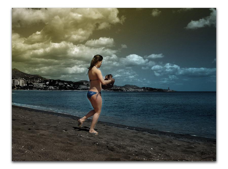 Foto playa Baños del Carmen. Primer baño primaveral