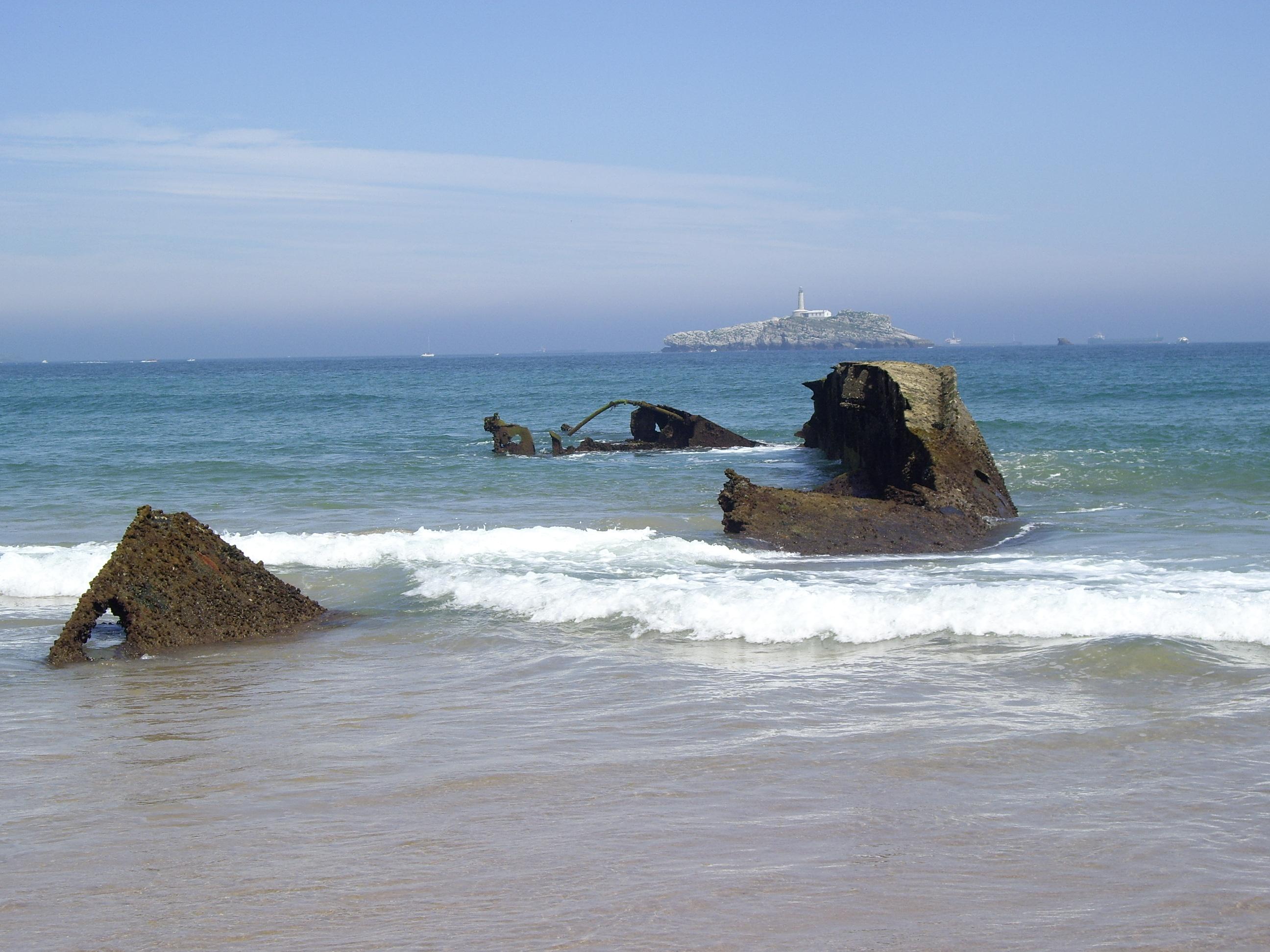 Foto playa Somo. Naufragio (15-7-2007)