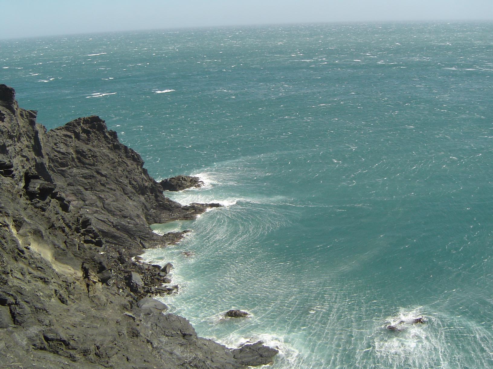Foto playa En Goixa / Playa del Morts. El mar des de la carretera de Portbou (alt. 202 m.)