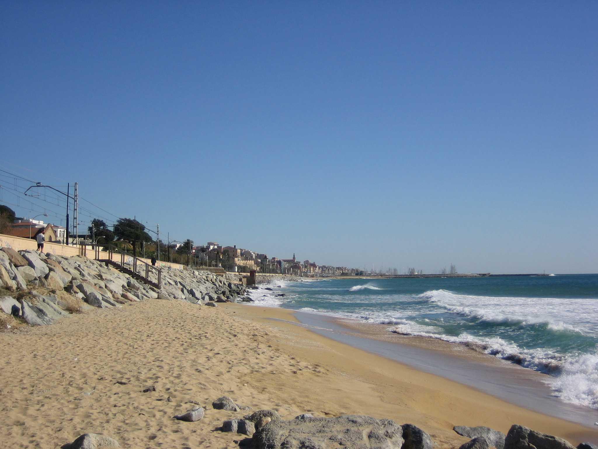Foto playa Pla de Montgat. Masnou a mig camí de Montgat