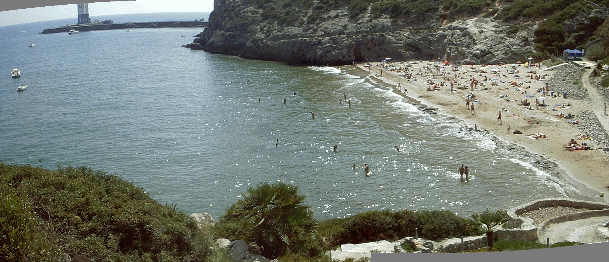 Foto playa Els Balmins. Cala Morisca, Sitges. Garraf