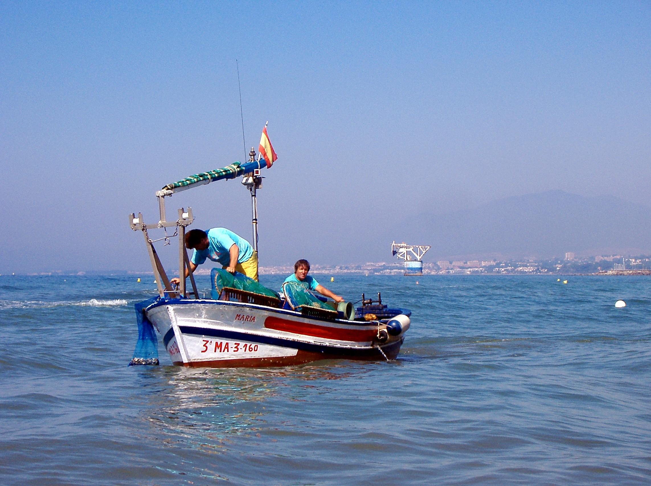 Foto playa Cortijo Blanco. Pescadores