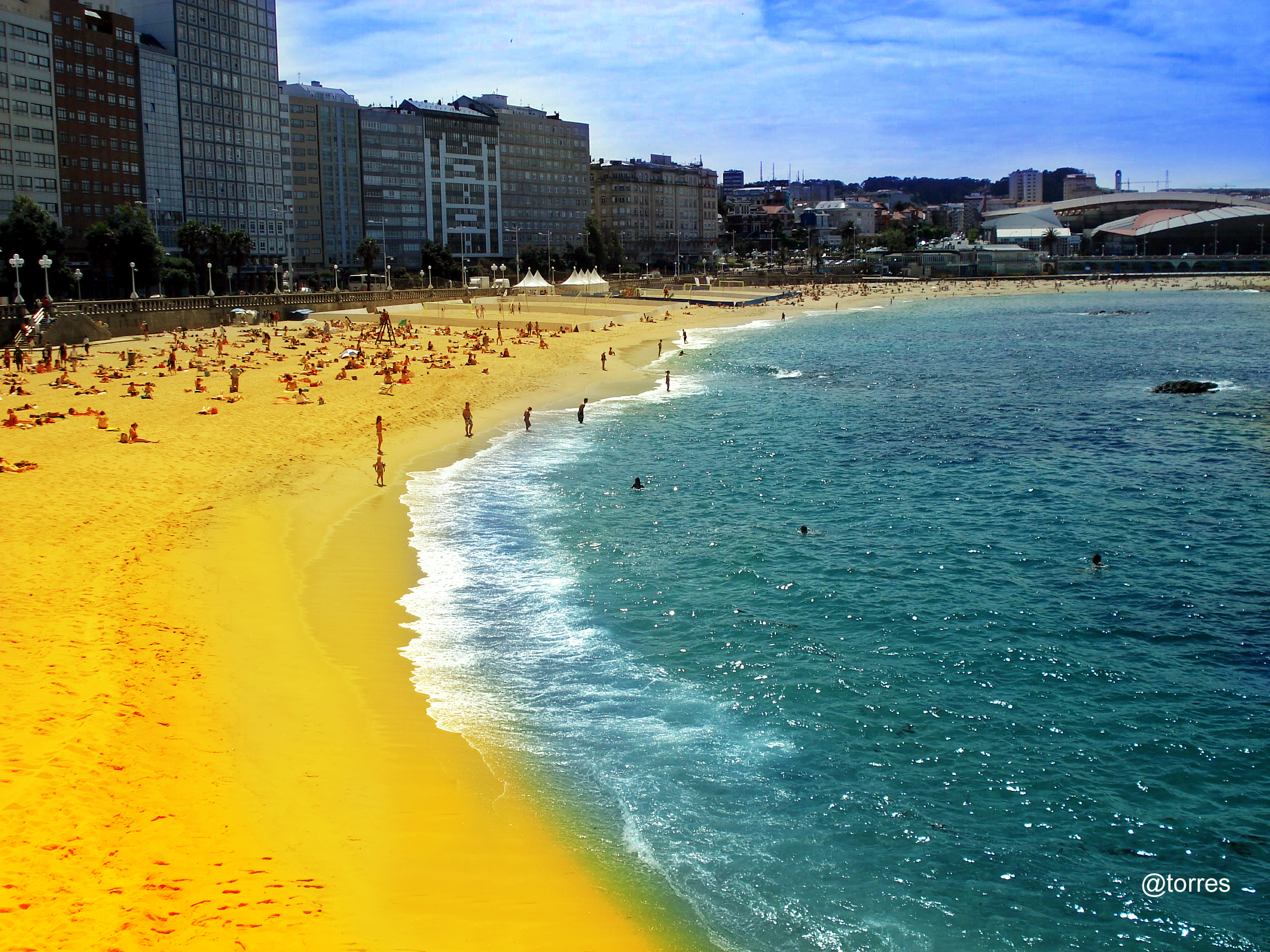 Foto playa Riazor. Playa de Riazor, A Coruña