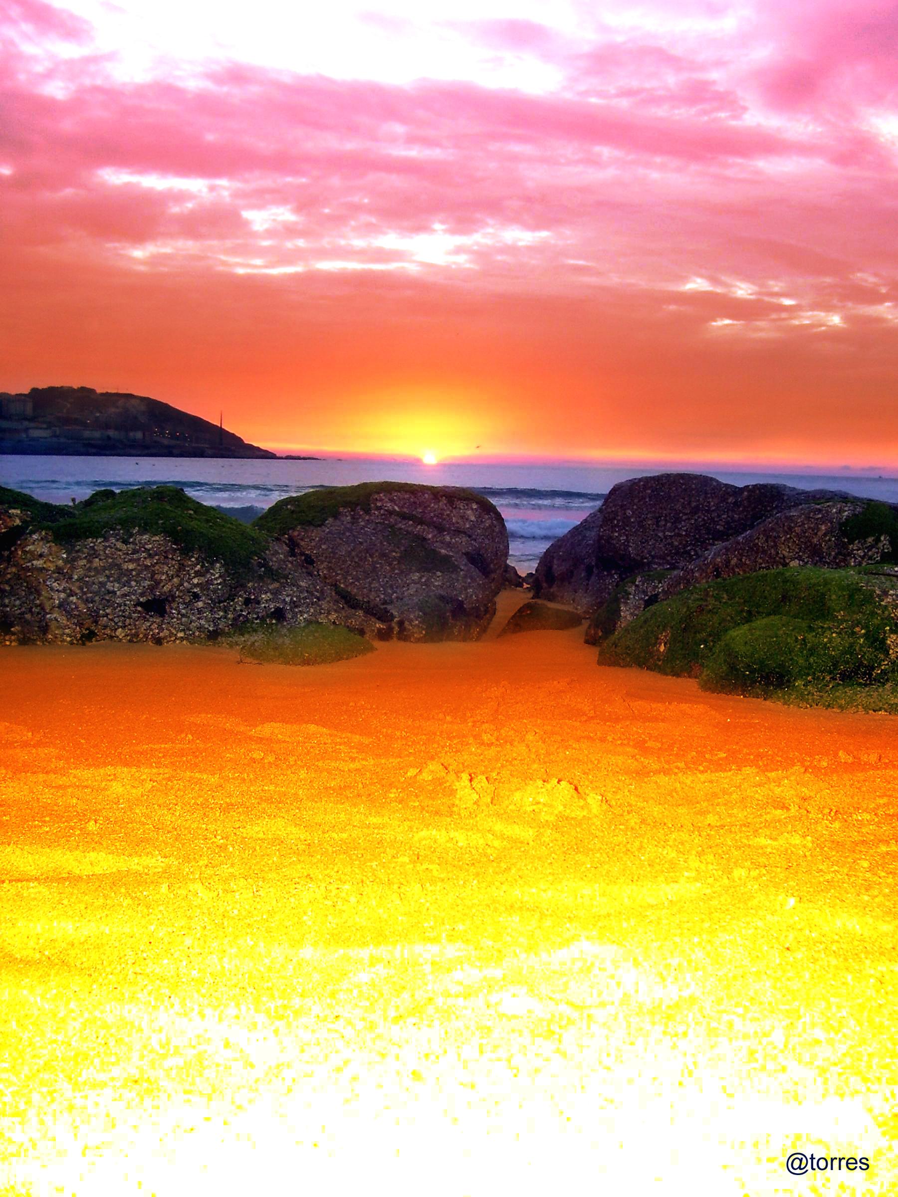 Foto playa Orzán. A Coruña, anochece en la playa del Orzán