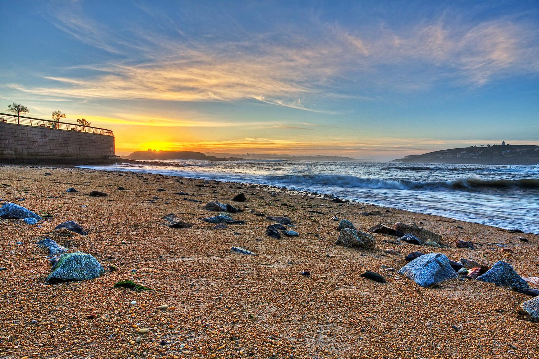 Foto playa Mera. Solpor dende Mera