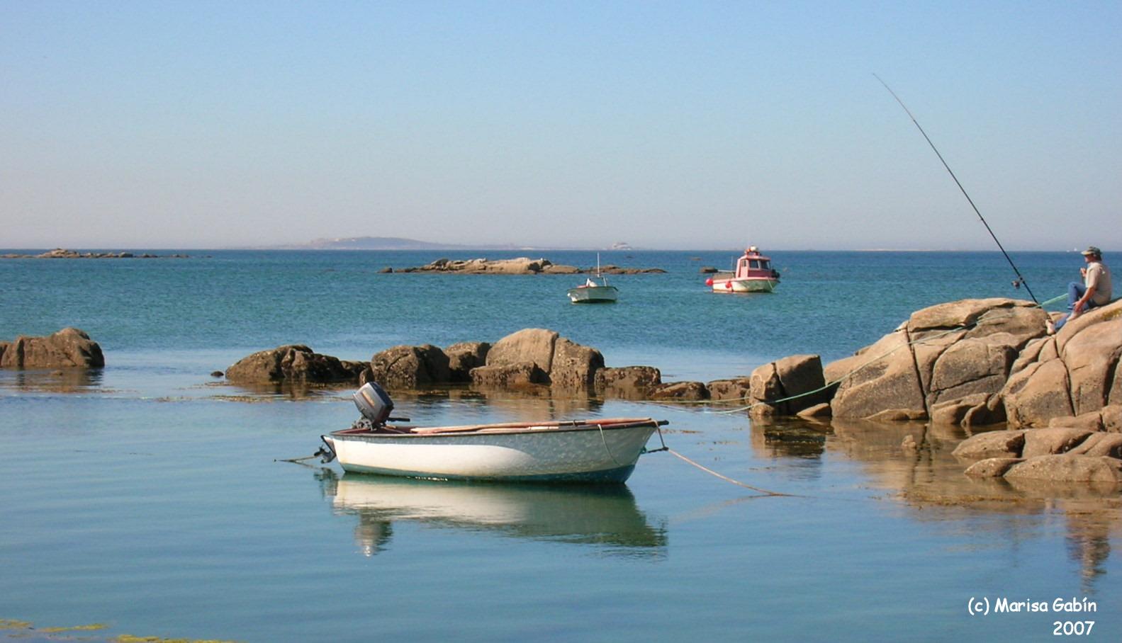 Foto playa Espiñeiro. (MG) Mar sereno, Isla de Arousa