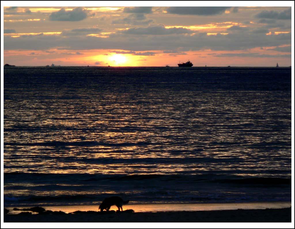 Foto playa Marín. Perbes, anochece