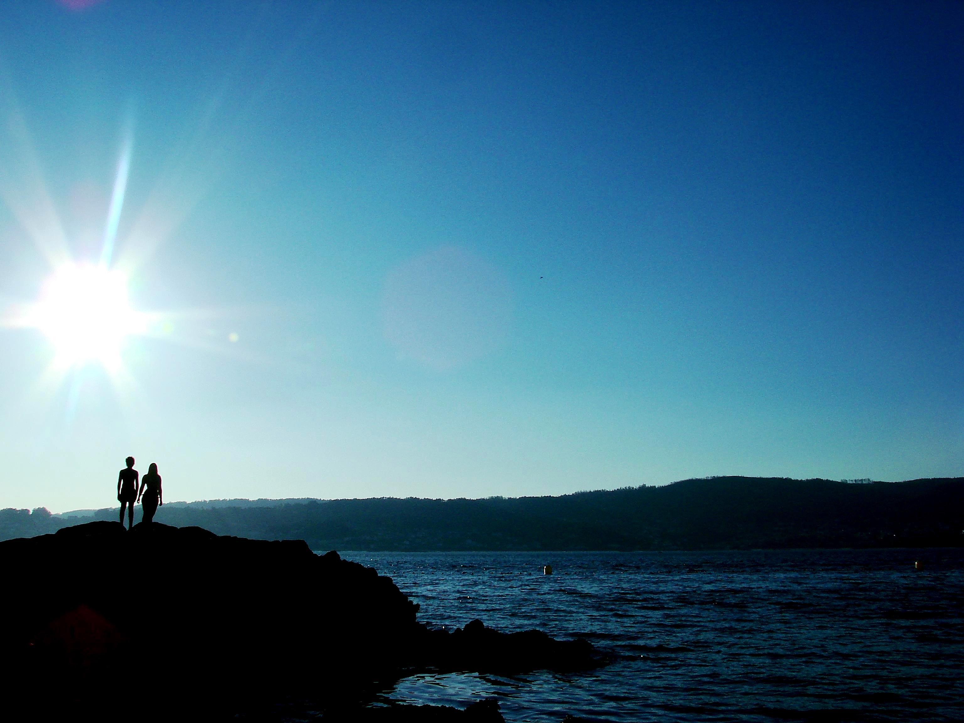 Foto playa Portocelo. 2 sombras para um grande sol