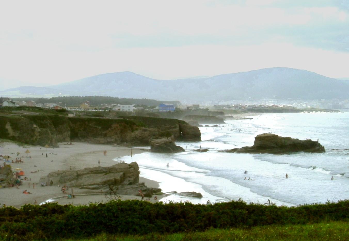 Foto playa San Cosme / Altar. Foz, Playa de San Bartolo,  incoming storm - August 2004