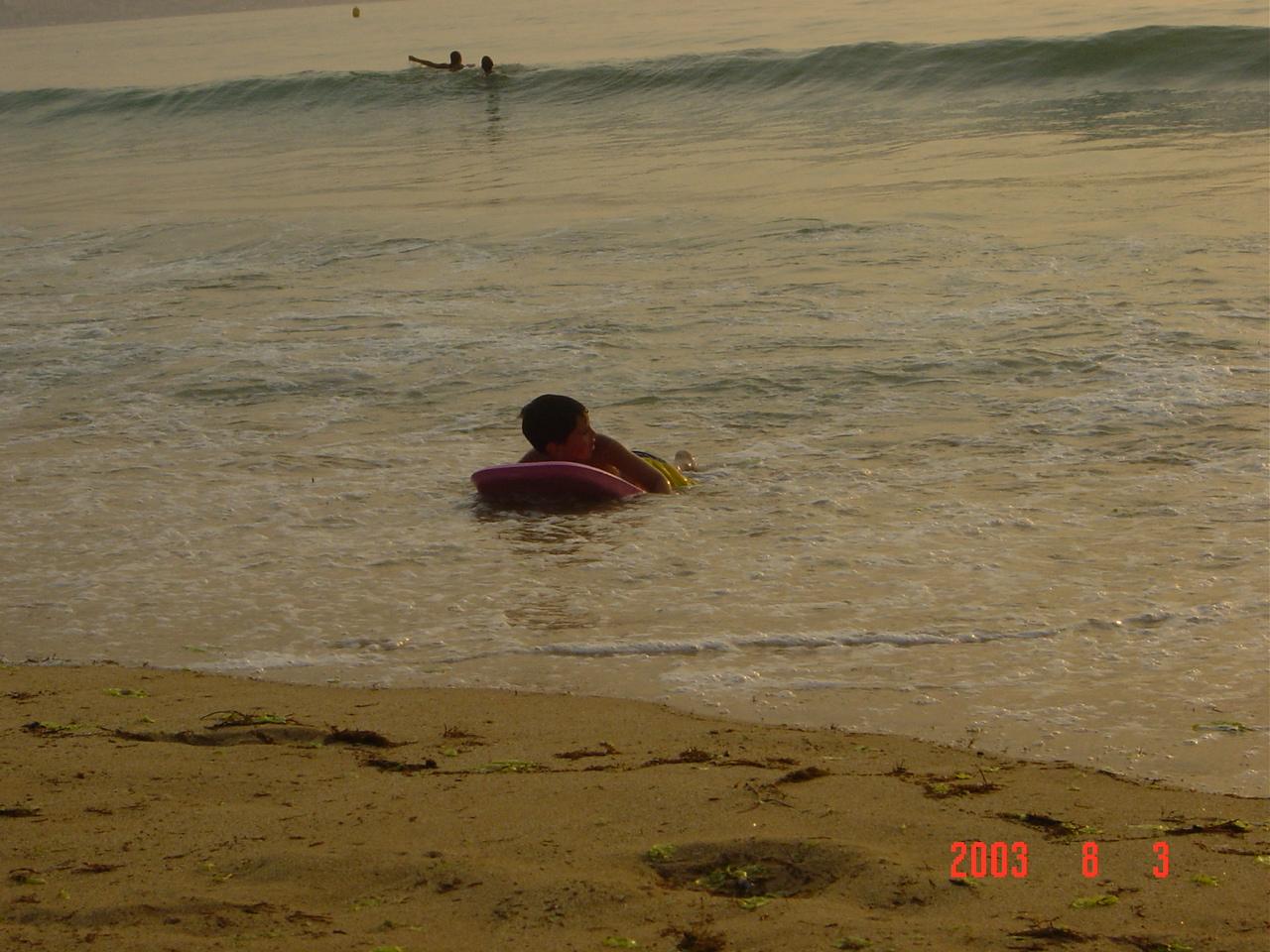 Foto playa América. marea alta en playa america