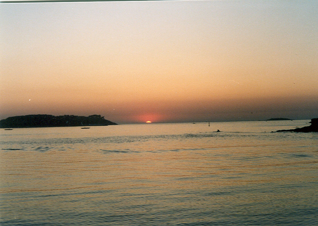 Foto playa América. Atardecer en Bayona (Pontevedra)