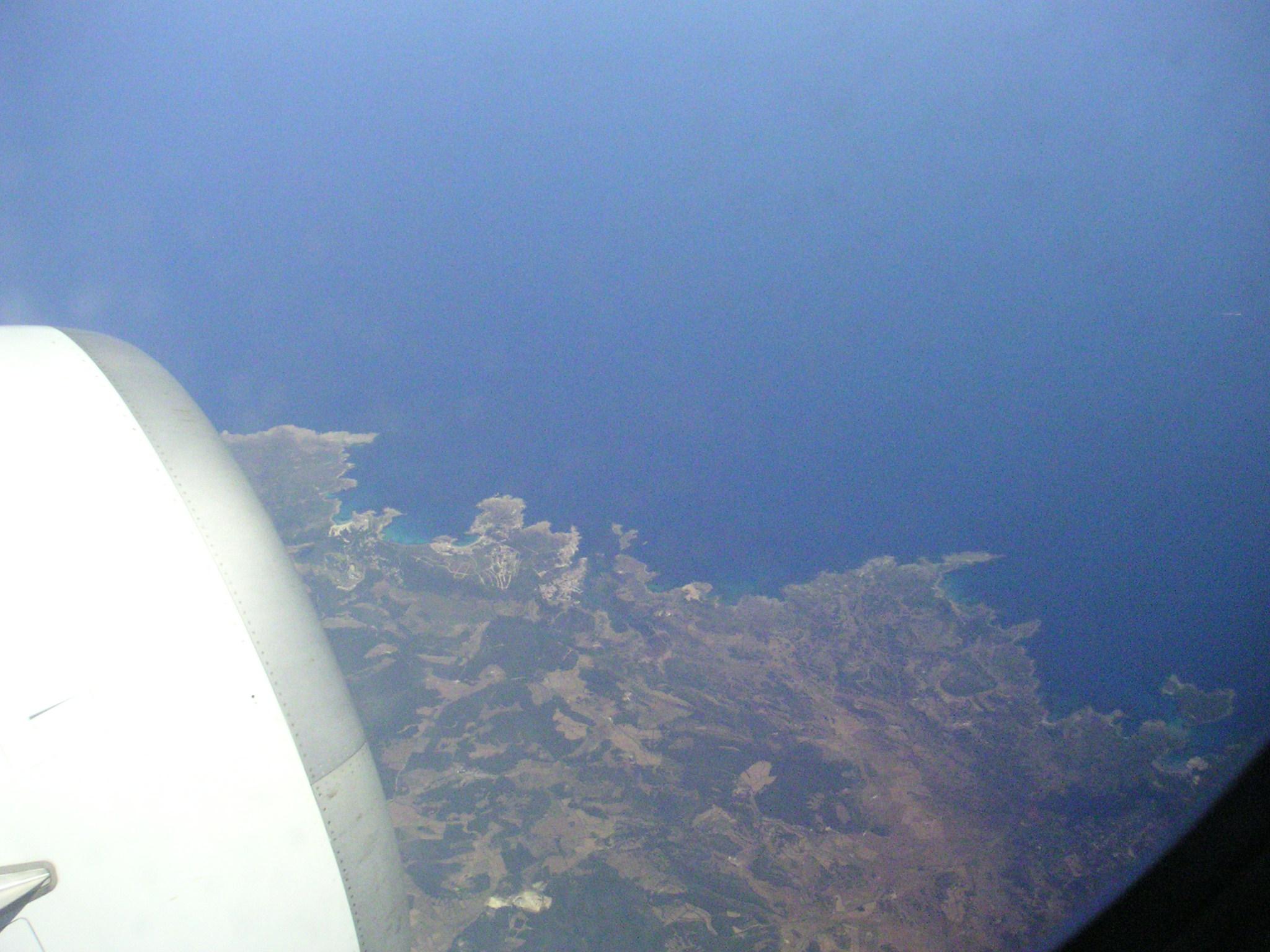 Foto playa Cala de Sa Torreta. isola di minorca. dall´aereo